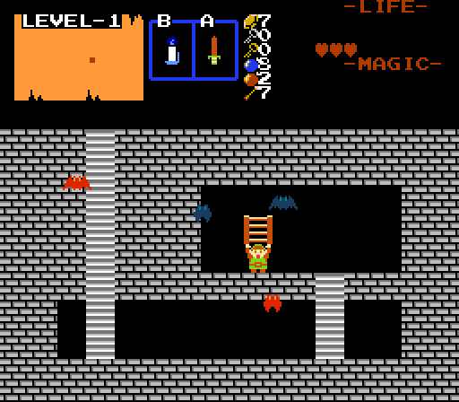 The item cellar in Zelda Classic. Note that the default keese have been replaced on the template screen.
