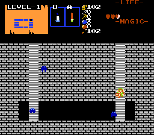 Passageway in Zelda Classic. Note that the default keese were not replaced this time.